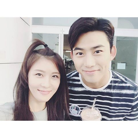 """Ha Ji Won posted this image on her instagram account and wrote """"With The Handsome Taecyeon - Fighting, Assembly"""""""